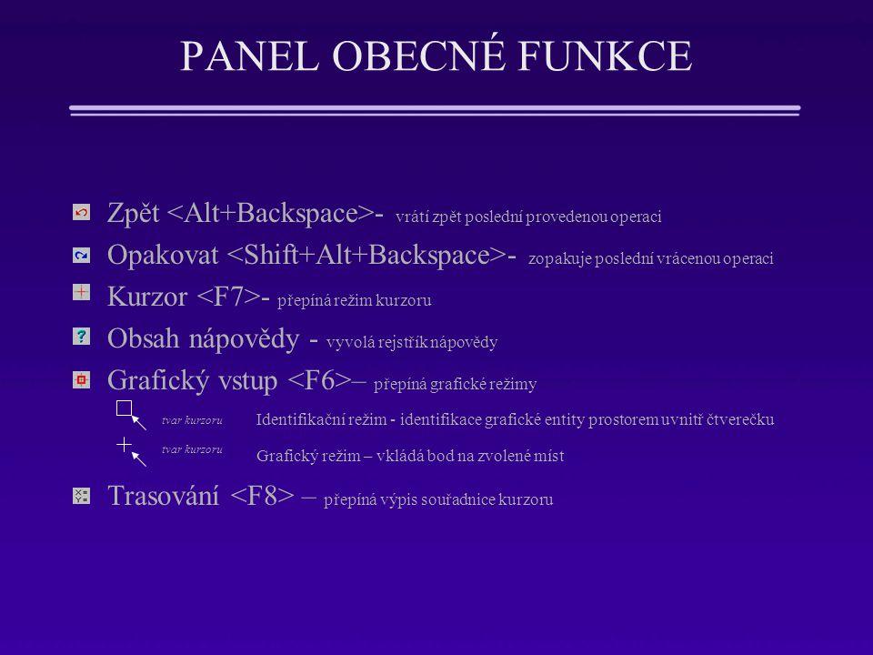 PANEL OBECNÉ FUNKCE Zpět <Alt+Backspace>- vrátí zpět poslední provedenou operaci. Opakovat <Shift+Alt+Backspace>- zopakuje poslední vrácenou operaci.
