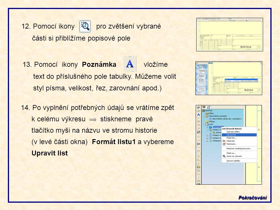 12. Pomocí ikony pro zvětšení vybrané části si přiblížíme popisové pole