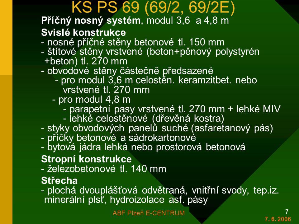 KS PS 69 (69/2, 69/2E) Příčný nosný systém, modul 3,6 a 4,8 m