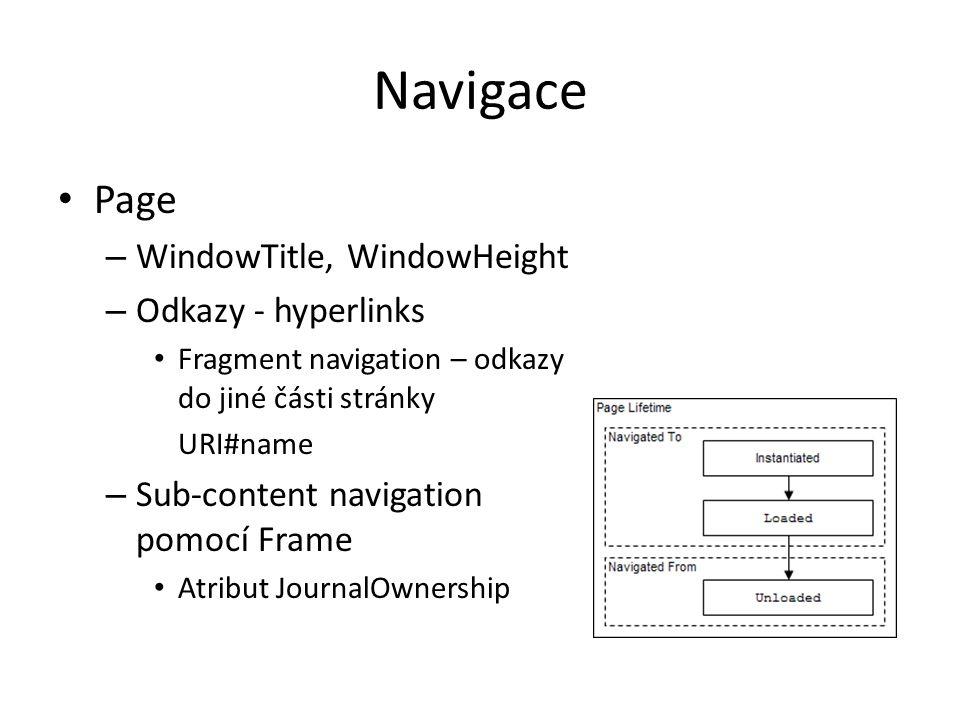 Navigace Page WindowTitle, WindowHeight Odkazy - hyperlinks