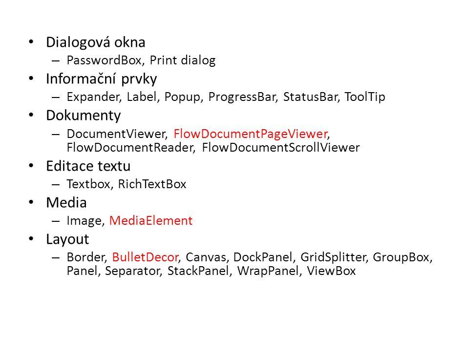Dialogová okna Informační prvky Dokumenty Editace textu Media Layout