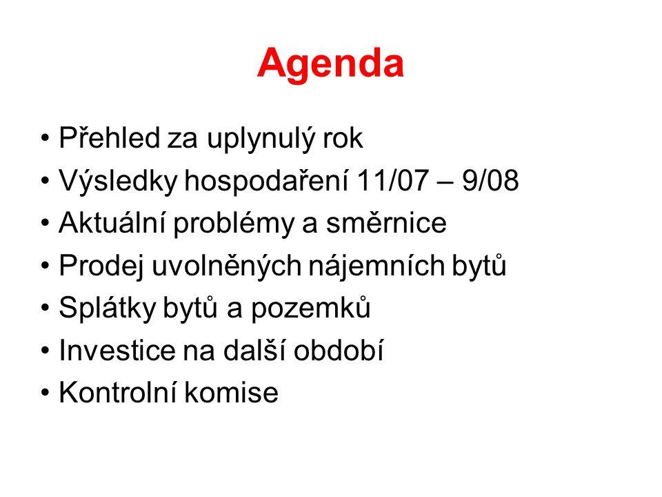 Agenda Přehled za uplynulý rok Výsledky hospodaření 11/07 – 9/08