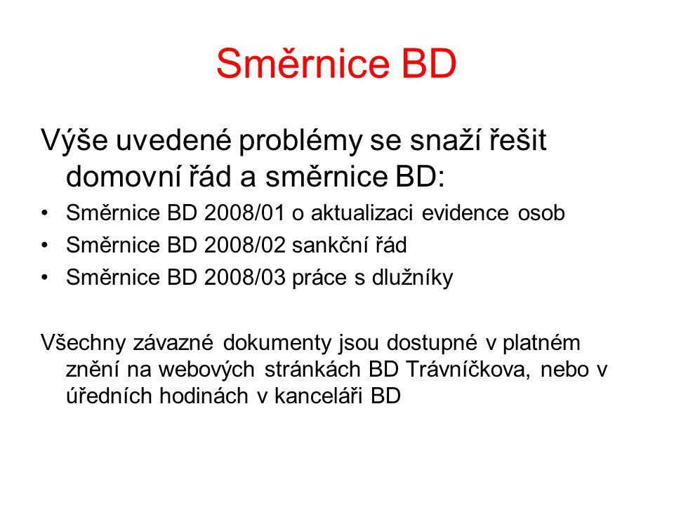 Směrnice BD Výše uvedené problémy se snaží řešit domovní řád a směrnice BD: Směrnice BD 2008/01 o aktualizaci evidence osob.