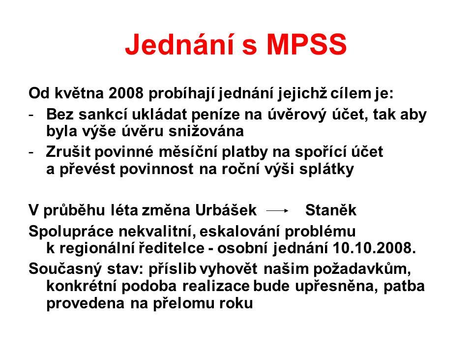 Jednání s MPSS Od května 2008 probíhají jednání jejichž cílem je: