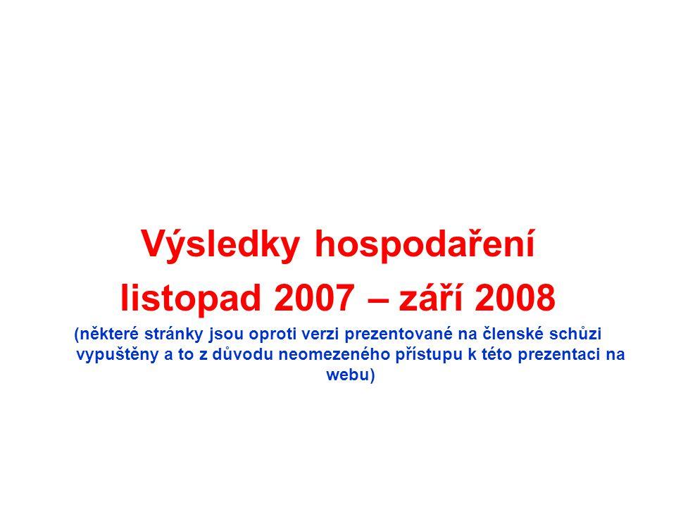 Výsledky hospodaření listopad 2007 – září 2008