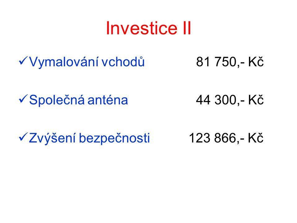 Investice II Vymalování vchodů 81 750,- Kč Společná anténa 44 300,- Kč