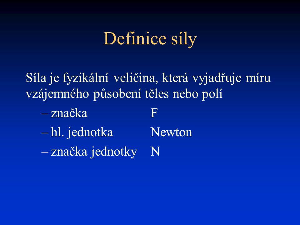 Definice síly Síla je fyzikální veličina, která vyjadřuje míru vzájemného působení těles nebo polí.