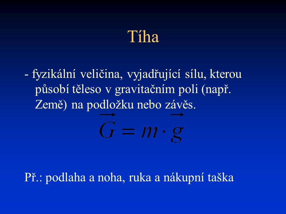 Tíha - fyzikální veličina, vyjadřující sílu, kterou působí těleso v gravitačním poli (např. Země) na podložku nebo závěs.