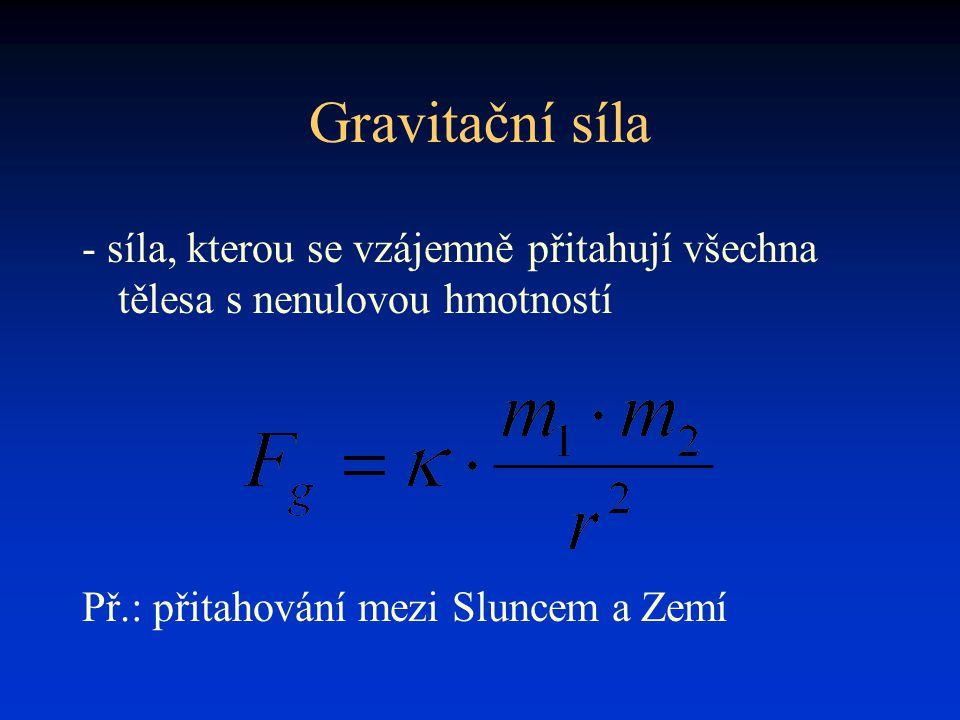 Gravitační síla - síla, kterou se vzájemně přitahují všechna tělesa s nenulovou hmotností.