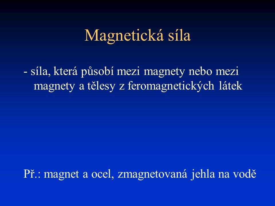 Magnetická síla - síla, která působí mezi magnety nebo mezi magnety a tělesy z feromagnetických látek.