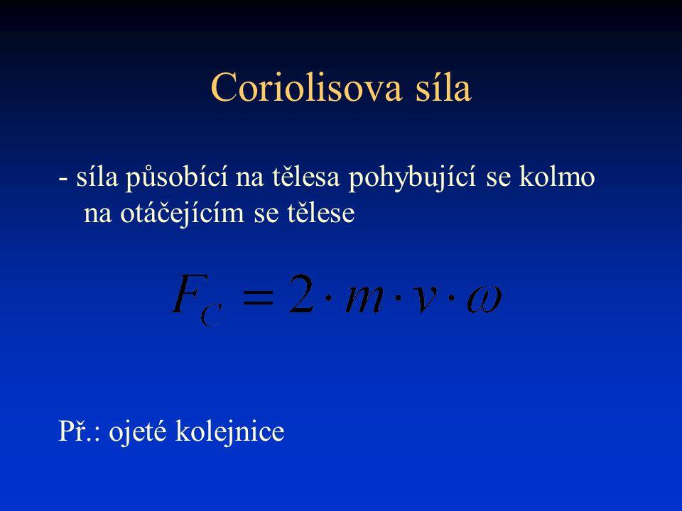 Coriolisova síla - síla působící na tělesa pohybující se kolmo na otáčejícím se tělese.