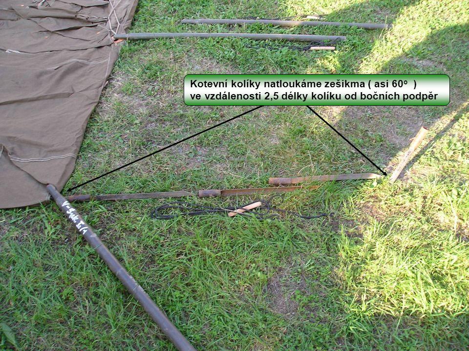 Kotevní kolíky natloukáme zešikma ( asi 60o )