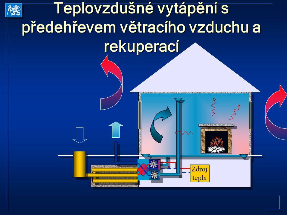 Teplovzdušné vytápění s předehřevem větracího vzduchu a rekuperací