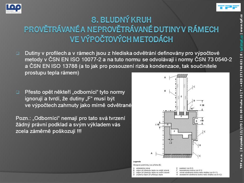 8. Bludný kruh provětrávané a neprovětrávané dutiny v rámech ve výpočtových metodách