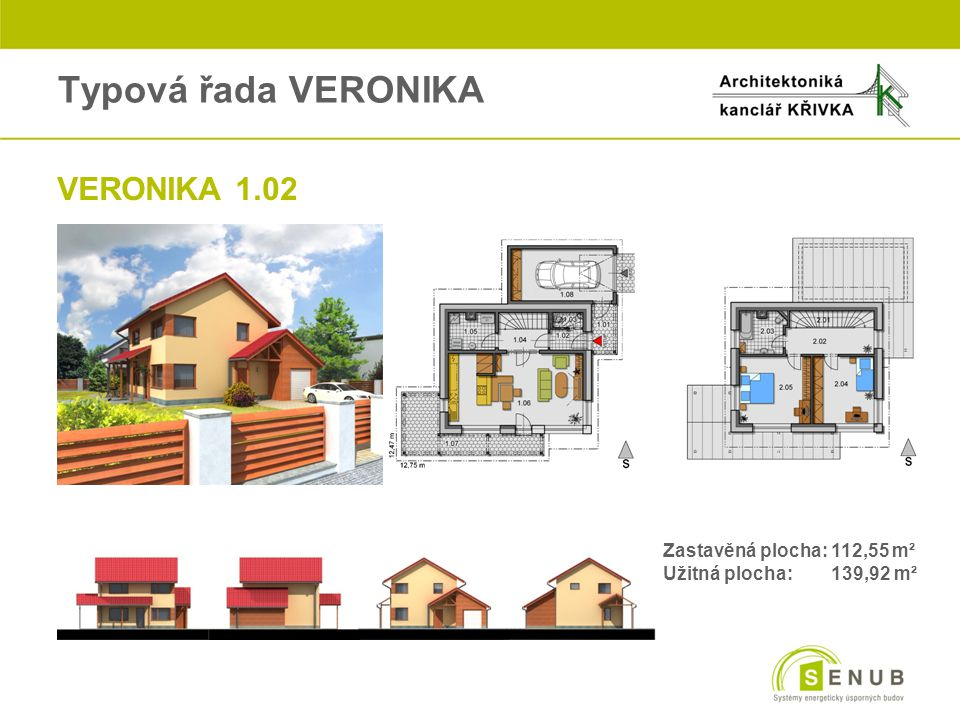 Typová řada VERONIKA VERONIKA 1.02 Zastavěná plocha: 112,55 m²