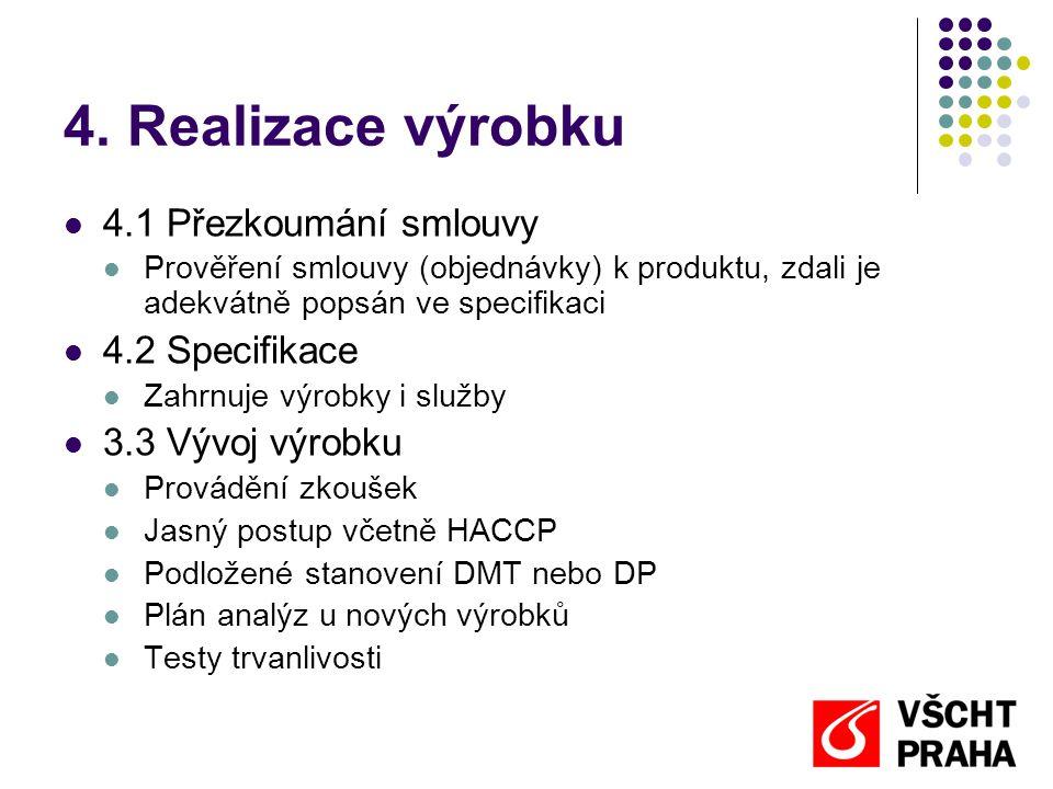 4. Realizace výrobku 4.1 Přezkoumání smlouvy 4.2 Specifikace