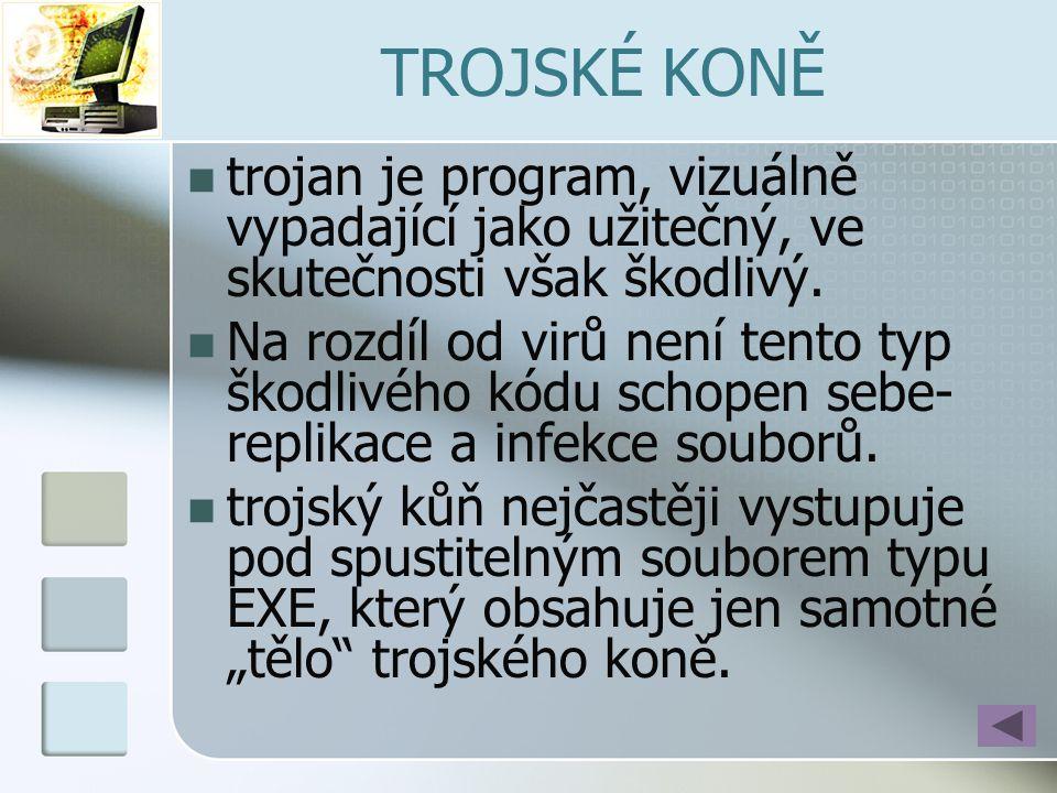 TROJSKÉ KONĚ trojan je program, vizuálně vypadající jako užitečný, ve skutečnosti však škodlivý.