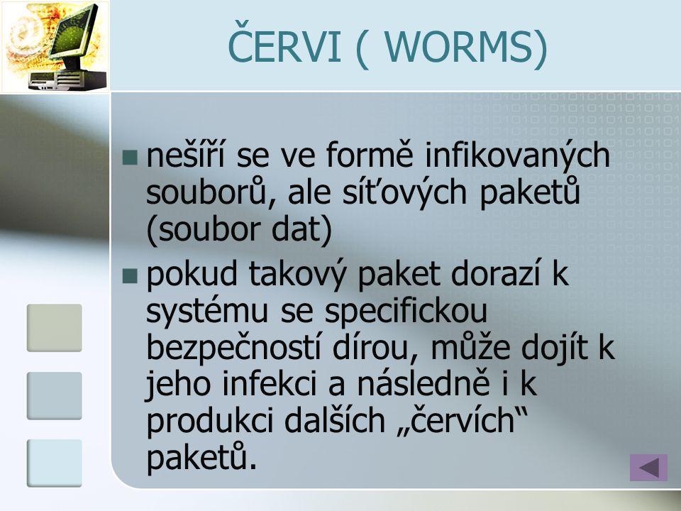 ČERVI ( WORMS) nešíří se ve formě infikovaných souborů, ale síťových paketů (soubor dat)