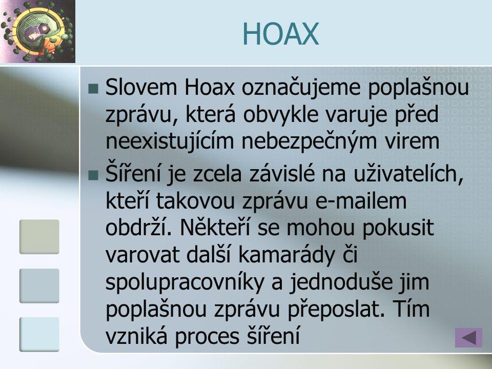 HOAX Slovem Hoax označujeme poplašnou zprávu, která obvykle varuje před neexistujícím nebezpečným virem.