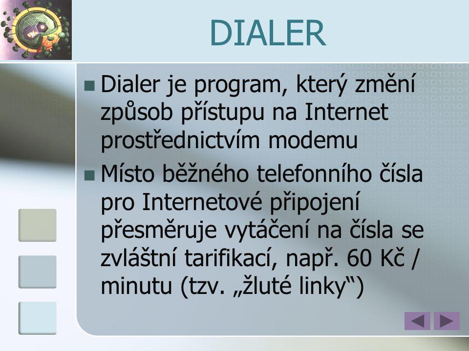 DIALER Dialer je program, který změní způsob přístupu na Internet prostřednictvím modemu.