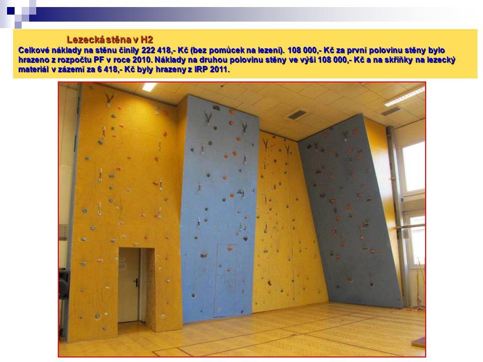 Lezecká stěna v H2 Celkové náklady na stěnu činily 222 418,- Kč (bez pomůcek na lezení).