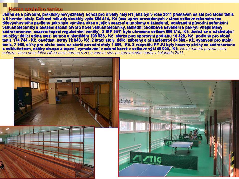 Herna stolního tenisu Jedná se o původní, prakticky nevyužitelný ochoz pro diváky haly H1 jenž byl v roce 2011 přestavěn na sál pro stolní tenis s 5 herními stoly.