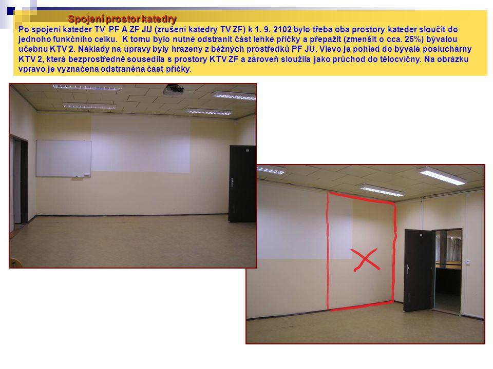 Spojení prostor katedry Po spojení kateder TV PF A ZF JU (zrušení katedry TV ZF) k 1.