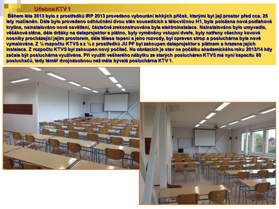 Učebna KTV 1 Během léta 2013 bylo z prostředků IRP 2013 provedeno vybourání lehkých příček, kterými byl její prostor před cca.
