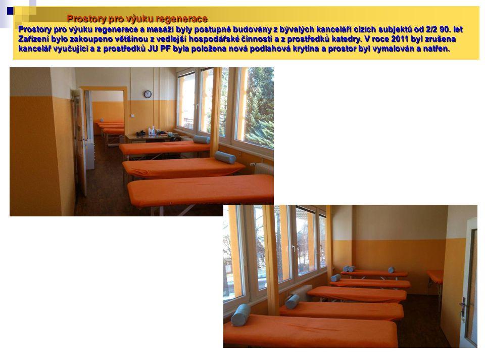 Prostory pro výuku regenerace Prostory pro výuku regenerace a masáží byly postupně budovány z bývalých kanceláří cizích subjektů od 2/2 90.