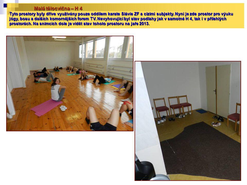 Malá tělocvična – H 4 Tyto prostory byly dříve využívány pouze oddílem karate Slávie ZF a cizími subjekty.