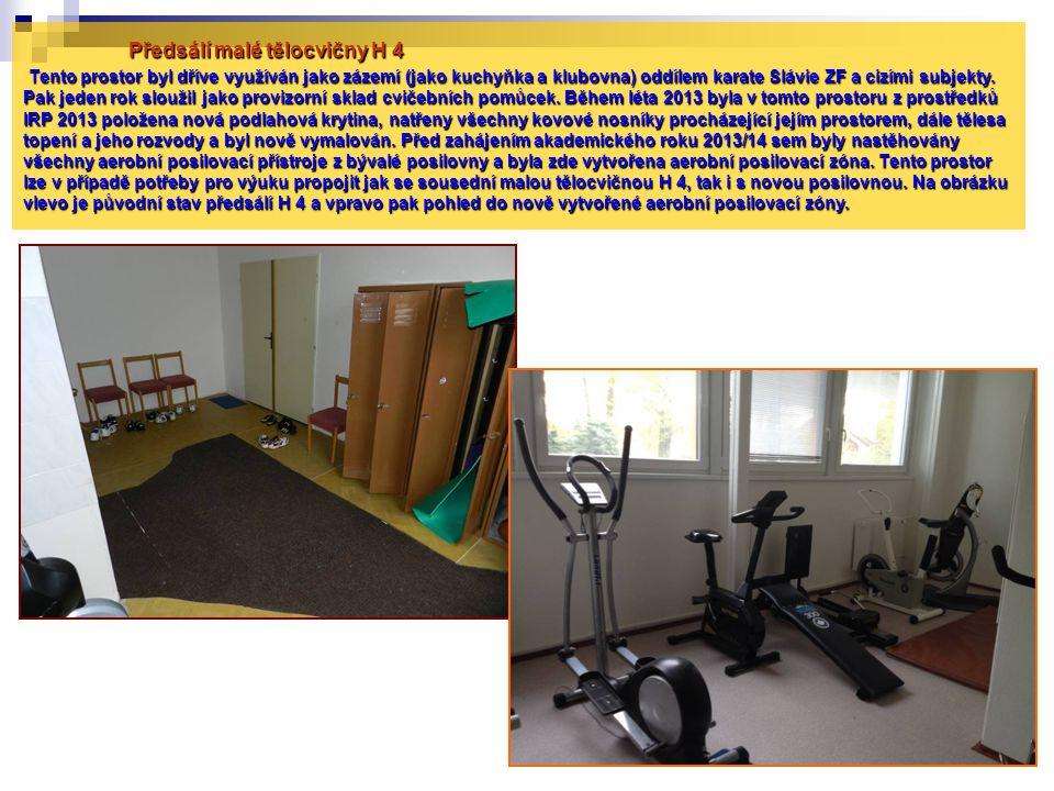 Předsálí malé tělocvičny H 4 Tento prostor byl dříve využíván jako zázemí (jako kuchyňka a klubovna) oddílem karate Slávie ZF a cizími subjekty.