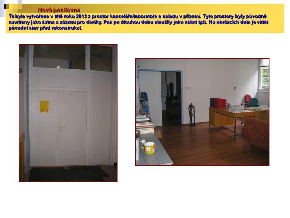 Nová posilovna Ta byla vytvořena v létě roku 2013 z prostor kanceláře/laboratoře a skladu v přízemí.