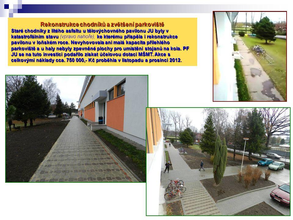Rekonstrukce chodníků a zvětšení parkoviště Staré chodníky z litého asfaltu u tělovýchovného pavilonu JU byly v katastrofálním stavu (vpravo nahoře), ke kterému přispěla i rekonstrukce pavilonu v loňském roce.