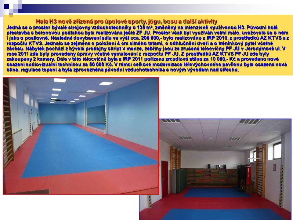 Hala H3 nově zřízená pro úpolové sporty, jógu, bosu a další aktivity Jedná se o prostor bývalé strojovny vzduchotechniky o 135 m2, změněný na intenzivně využívanou H3.