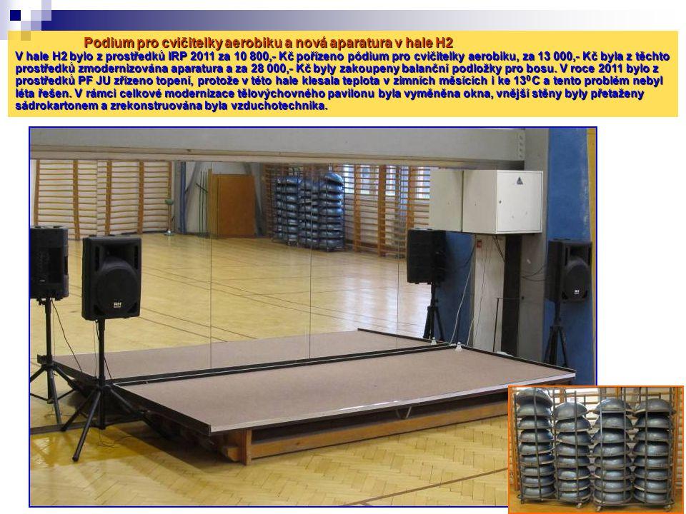Podium pro cvičitelky aerobiku a nová aparatura v hale H2 V hale H2 bylo z prostředků IRP 2011 za 10 800,- Kč pořízeno pódium pro cvičitelky aerobiku, za 13 000,- Kč byla z těchto prostředků zmodernizována aparatura a za 28 000,- Kč byly zakoupeny balanční podložky pro bosu.