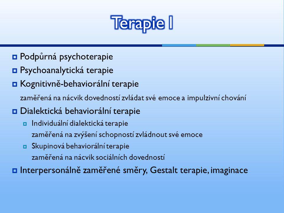 Terapie I Podpůrná psychoterapie Psychoanalytická terapie