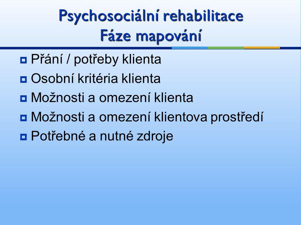Psychosociální rehabilitace Fáze mapování