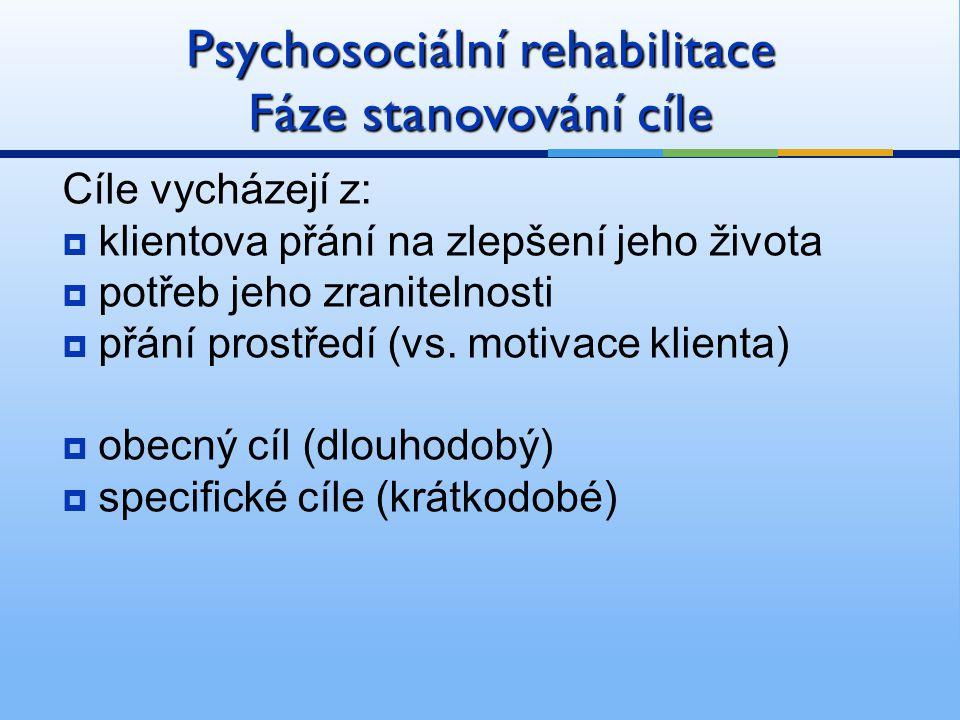 Psychosociální rehabilitace Fáze stanovování cíle