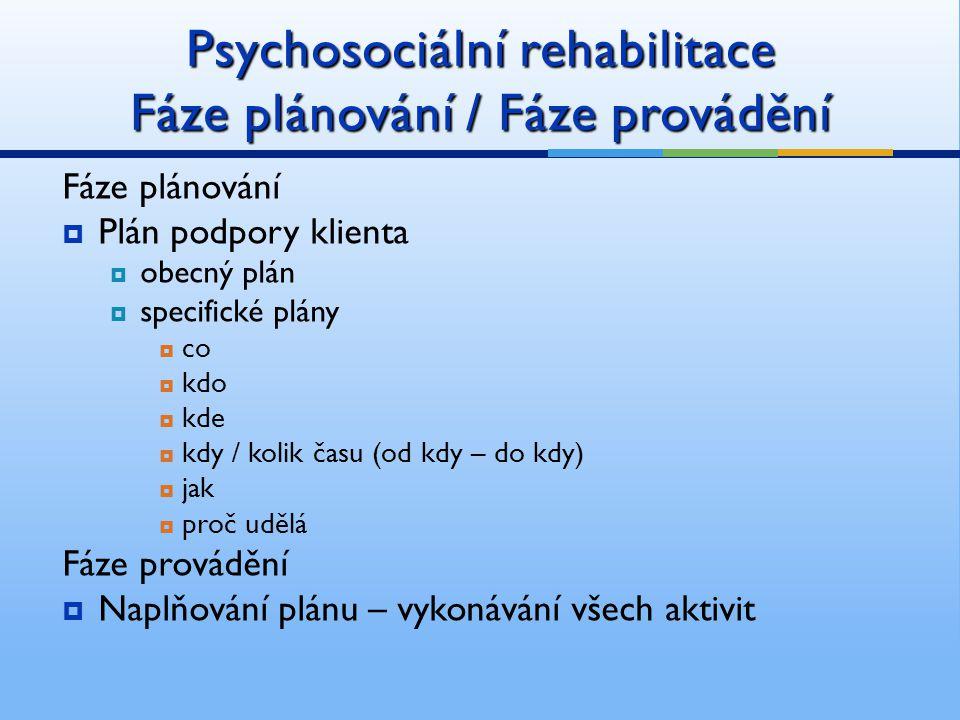 Psychosociální rehabilitace Fáze plánování / Fáze provádění