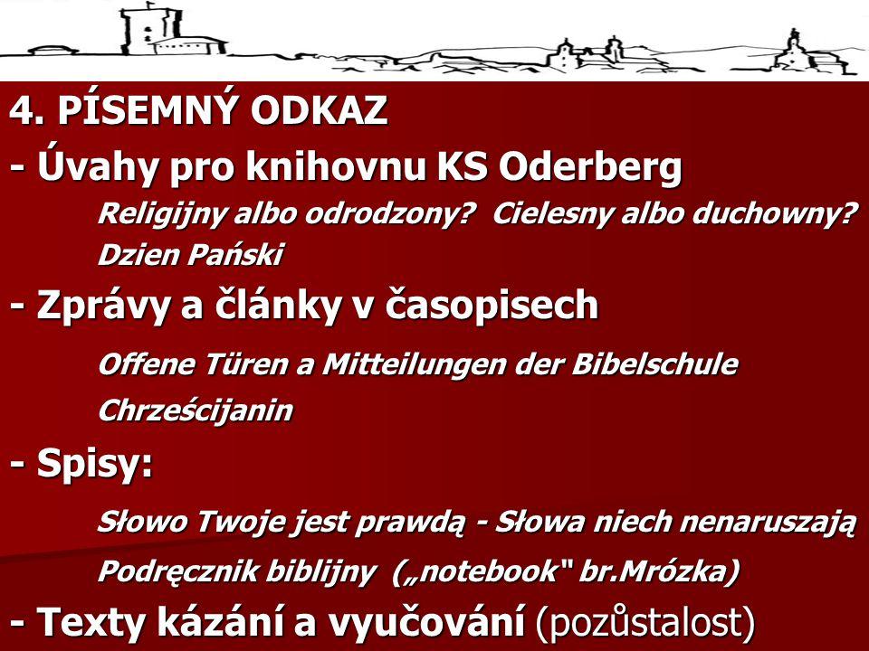 - Úvahy pro knihovnu KS Oderberg