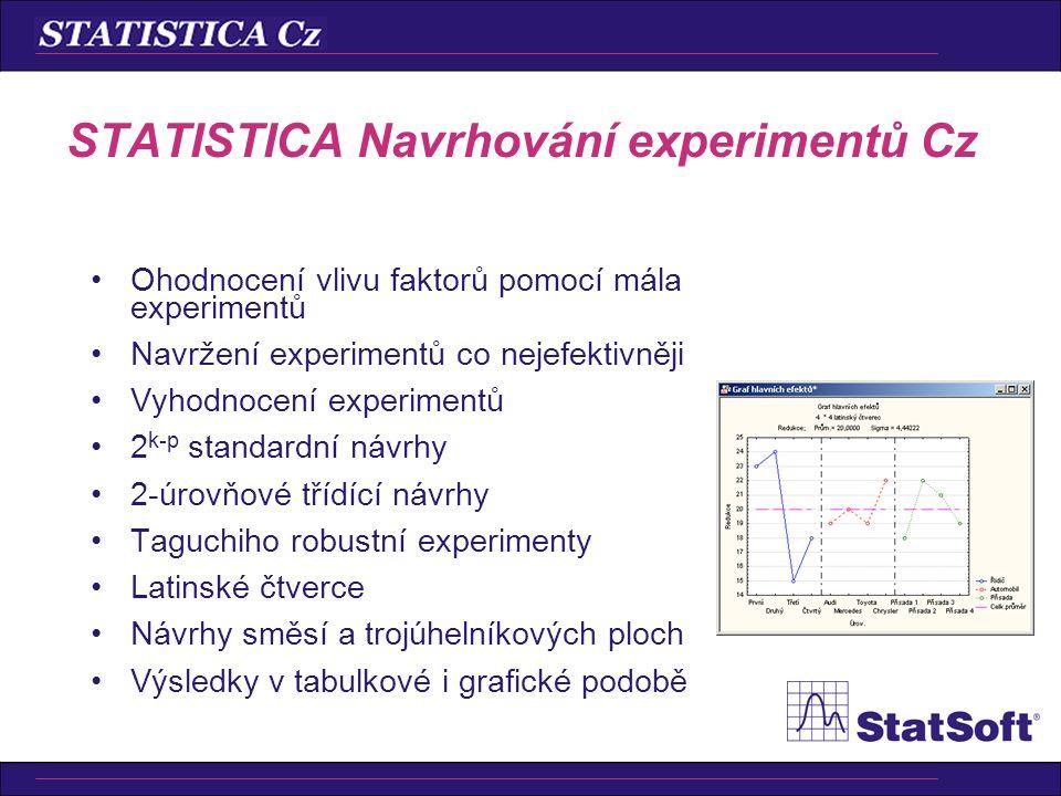 STATISTICA Navrhování experimentů Cz