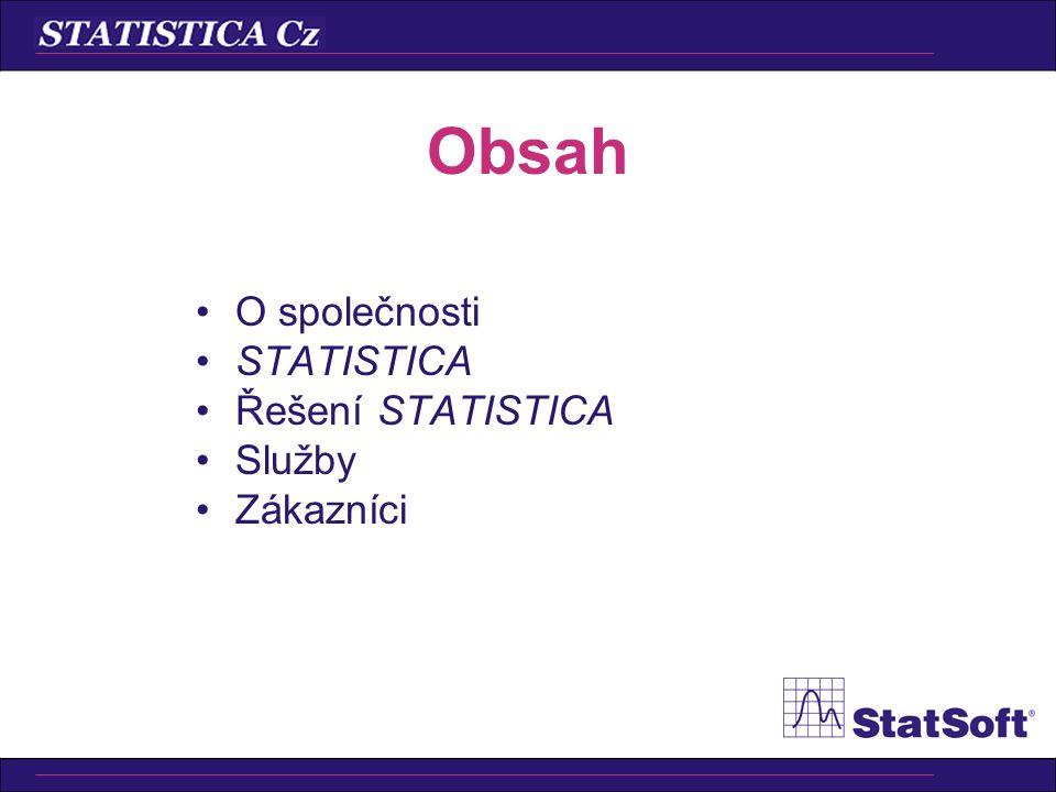 Obsah O společnosti STATISTICA Řešení STATISTICA Služby Zákazníci