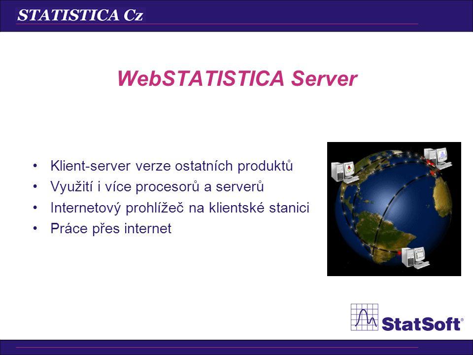 WebSTATISTICA Server Klient-server verze ostatních produktů