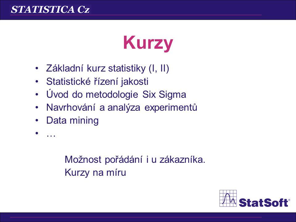 Kurzy Základní kurz statistiky (I, II) Statistické řízení jakosti