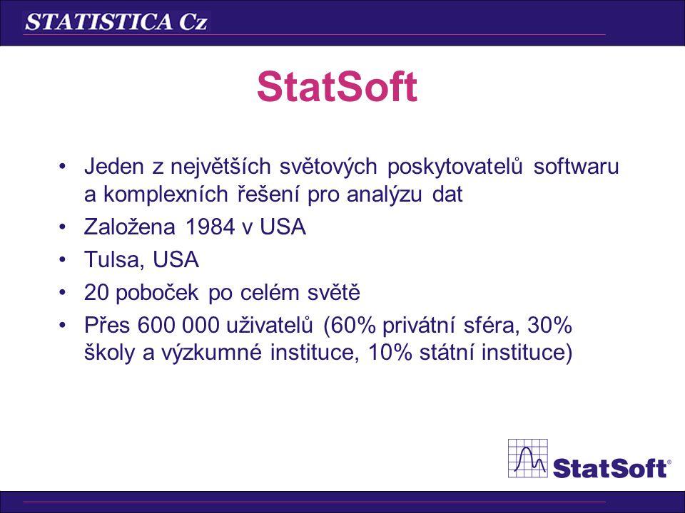 StatSoft Jeden z největších světových poskytovatelů softwaru a komplexních řešení pro analýzu dat. Založena 1984 v USA.