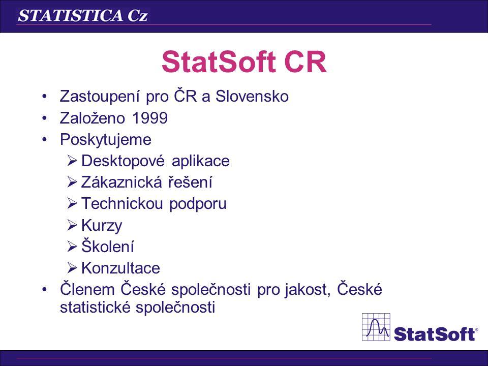 StatSoft CR Zastoupení pro ČR a Slovensko Založeno 1999 Poskytujeme
