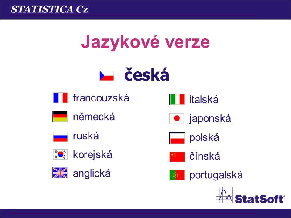 Jazykové verze česká francouzská italská německá japonská ruská polská
