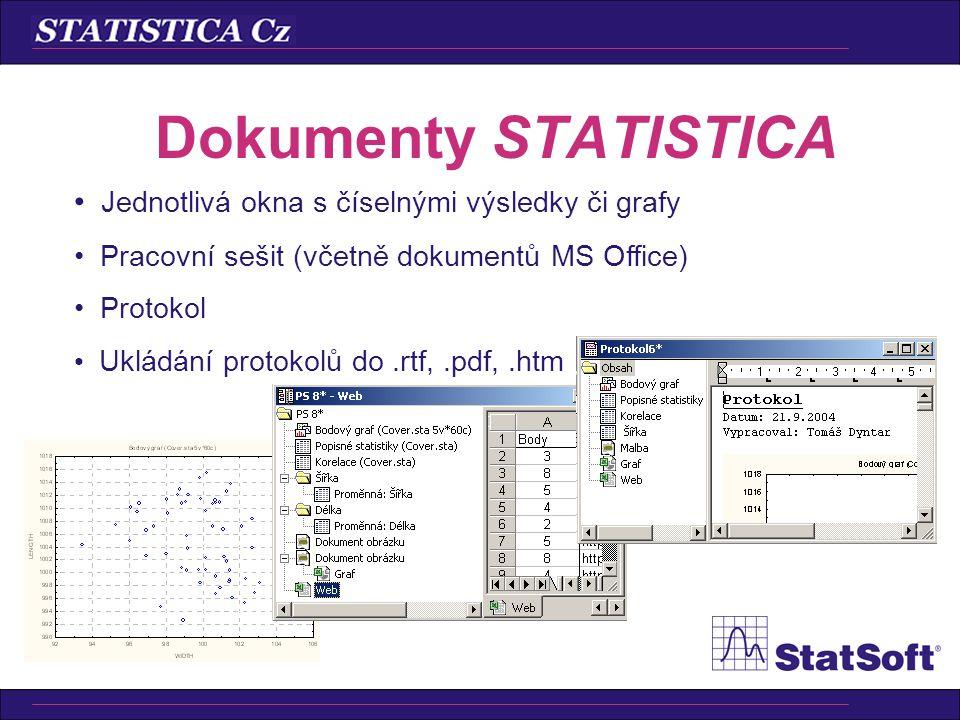 Dokumenty STATISTICA Jednotlivá okna s číselnými výsledky či grafy