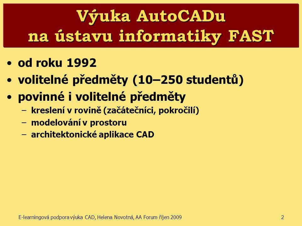 Výuka AutoCADu na ústavu informatiky FAST
