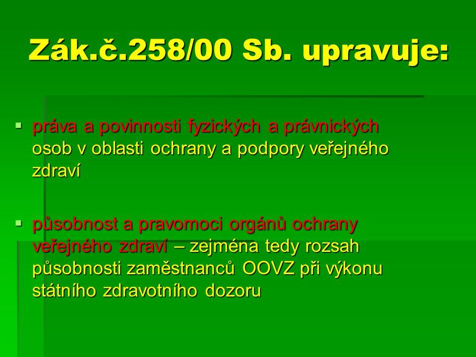Zák.č.258/00 Sb. upravuje: práva a povinnosti fyzických a právnických osob v oblasti ochrany a podpory veřejného zdraví.